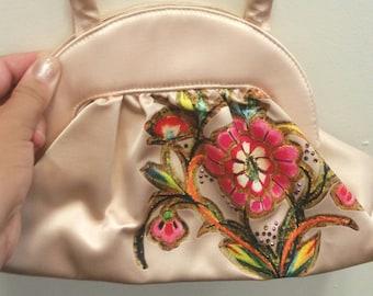 a7737e6d44 vintage hand painted bag, small beige bag, floral purse, hand painted purse,  gold paint rhinestones, champagne colour