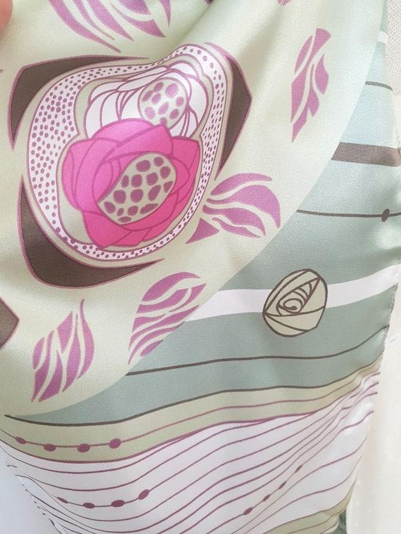 art deco print scarf, geometric roses, long pink … - image 4