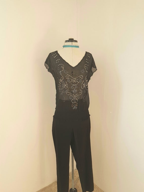 GORGEOUS black beach top, sheer resort wear, embro