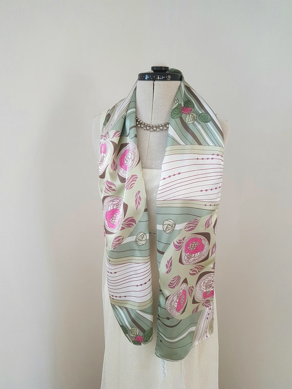 art deco print scarf, geometric roses, long pink a
