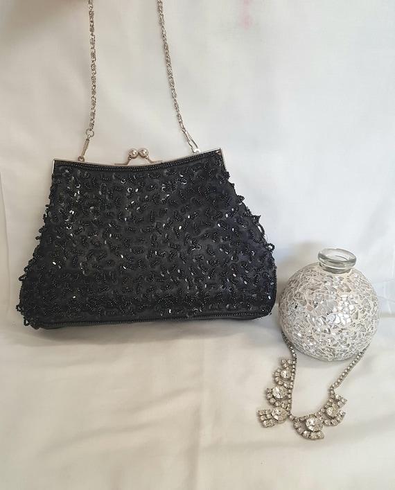 vintage beaded bag, black beaded bag, vintage purs