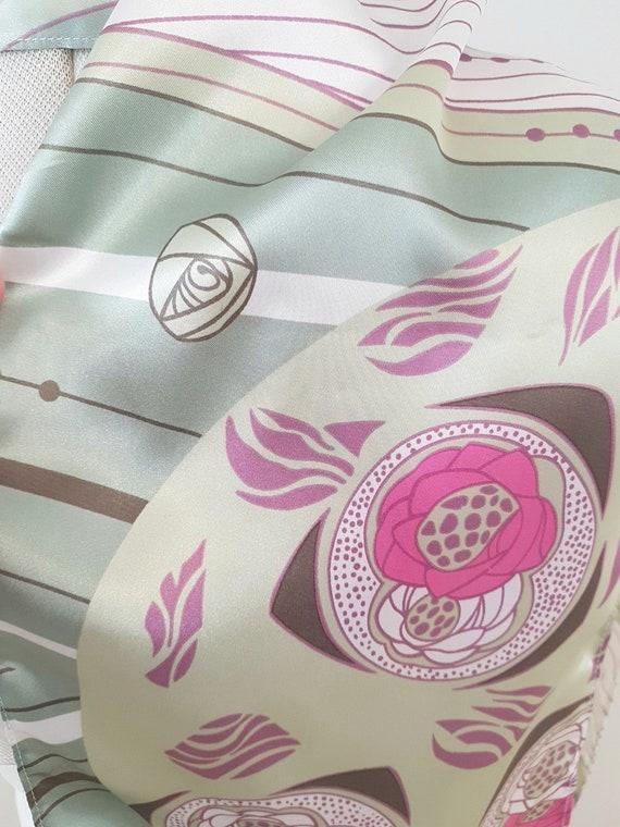 art deco print scarf, geometric roses, long pink … - image 5