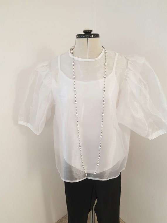 white 80s blouse, 1980s does victorian, steampunk