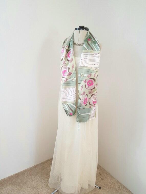 art deco print scarf, geometric roses, long pink … - image 2