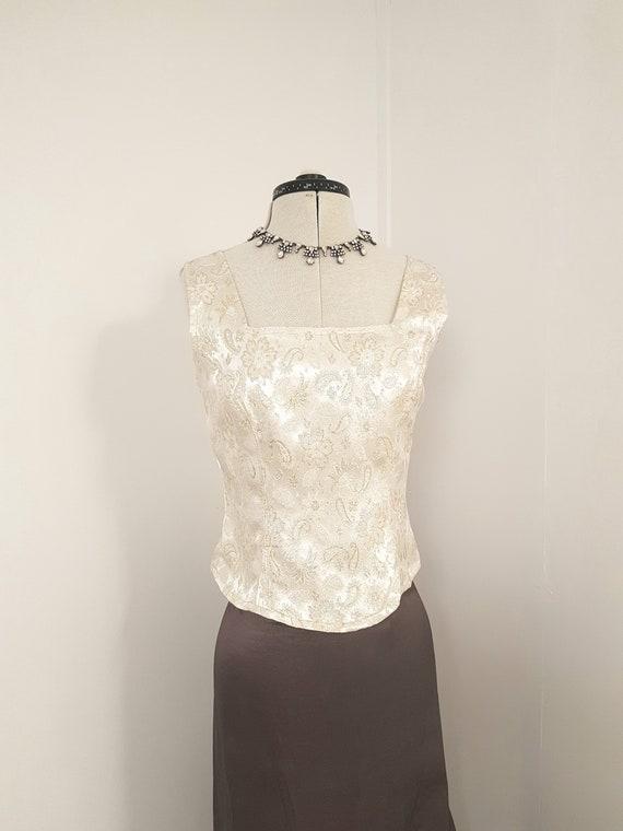 vintage corset, gold brocade corset, gold embroide