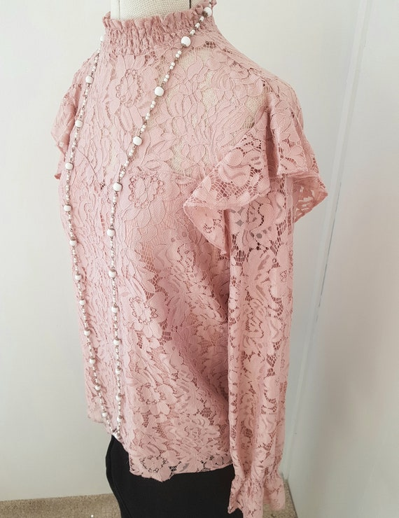 edwardian look blouse, all pink lace, 90s does vi… - image 4