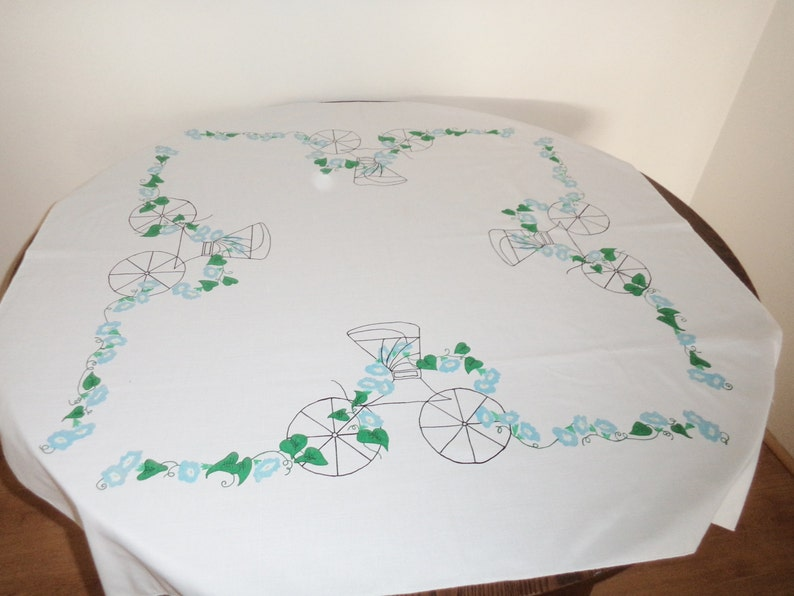 victorian carriage vintage tablecloth 80s square tablecloth ladies high tea ivy tablecloth floral tablecloth hand painted cloth