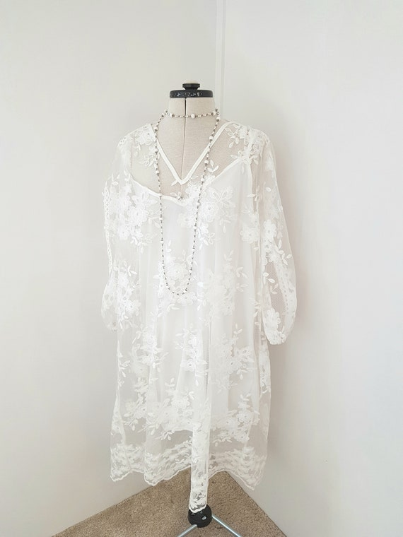 white lace dress, soft underdress, fab lace overdr