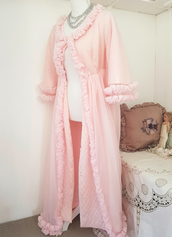 vintage dressing gown PINK and frilly THE ULTIMATE romantic | Etsy
