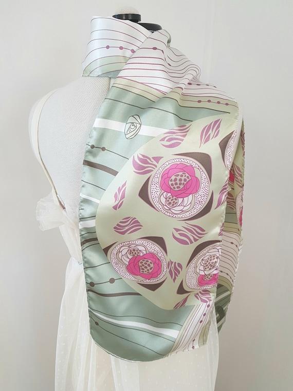 art deco print scarf, geometric roses, long pink … - image 6
