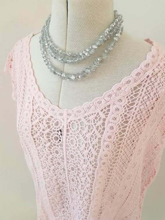 Pink lace beach top, ALL LACE, soft comfortable, c