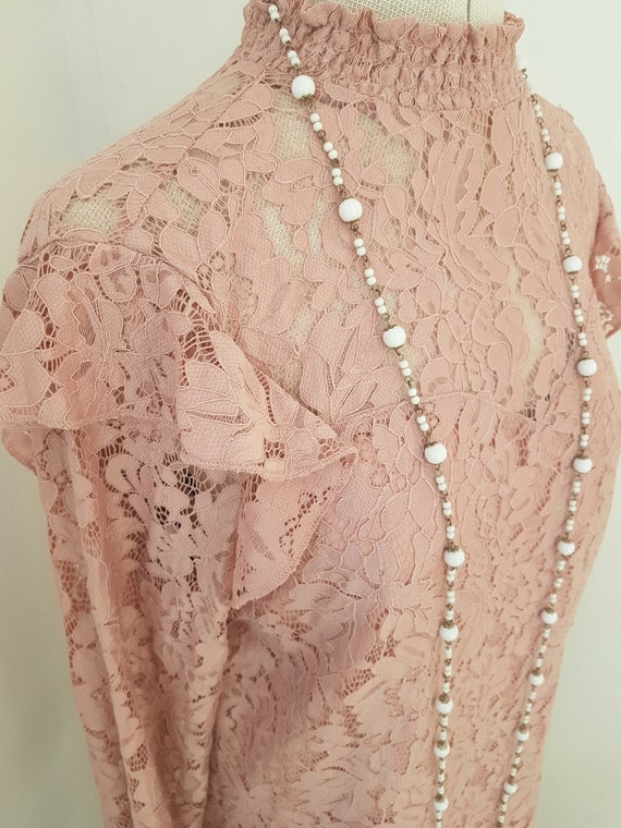 edwardian look blouse, all pink lace, 90s does vi… - image 3