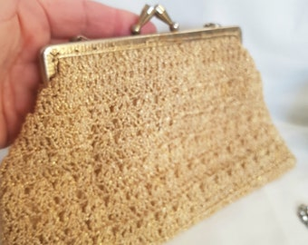 vintage gold bag, in stunning metallic crochet , 50s purse, 1950s costume, pinup girls