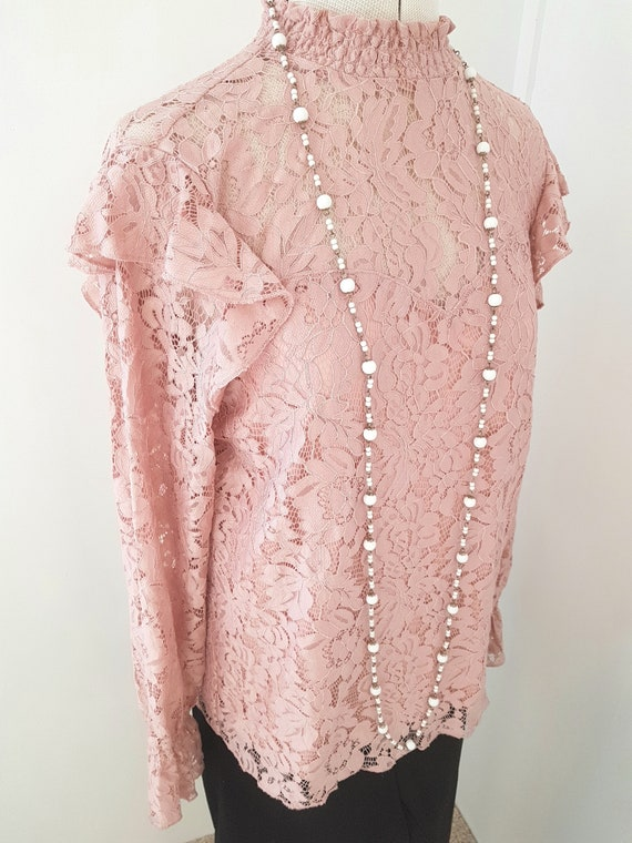 edwardian look blouse, all pink lace, 90s does vi… - image 6