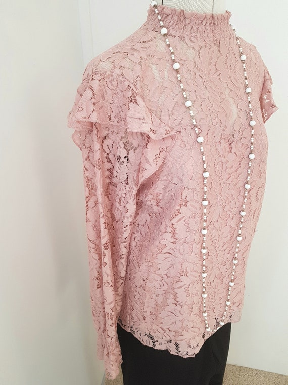 edwardian look blouse, all pink lace, 90s does vi… - image 2