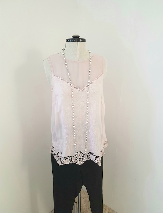 pale pink lace top, BEAUTIFUL evening tank, delica
