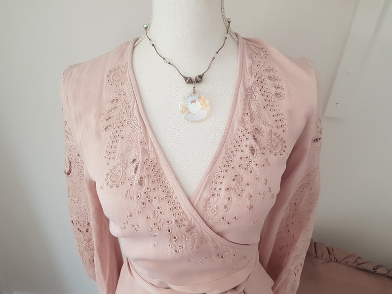 pale pink colour EXCEPTIONAL cutwork embroidery embroidered clothing edwardian look blouse
