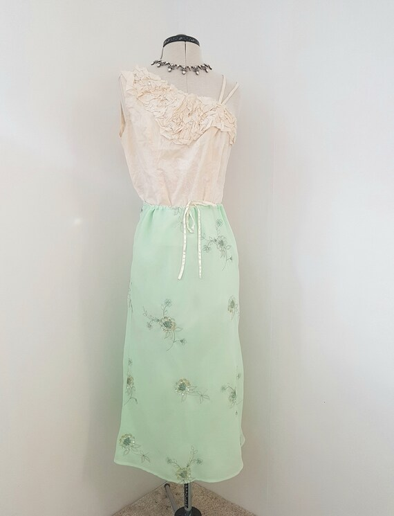 green evening skirt,  metallic floral embroidery,