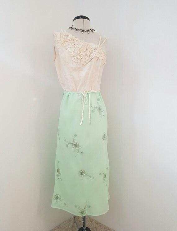 green evening skirt, light green, metallic embroid