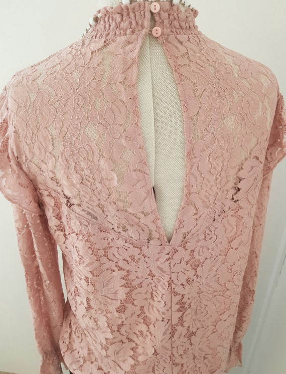 edwardian look blouse, all pink lace, 90s does vi… - image 5