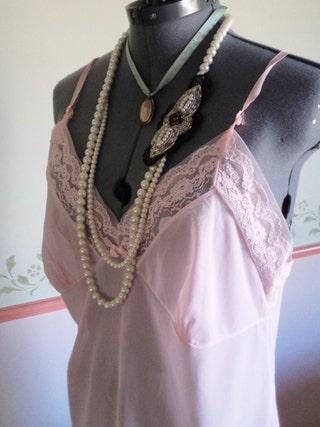 pink vintage slip, negligee, nylon nightdress, vintage underwear, 1970s slip,