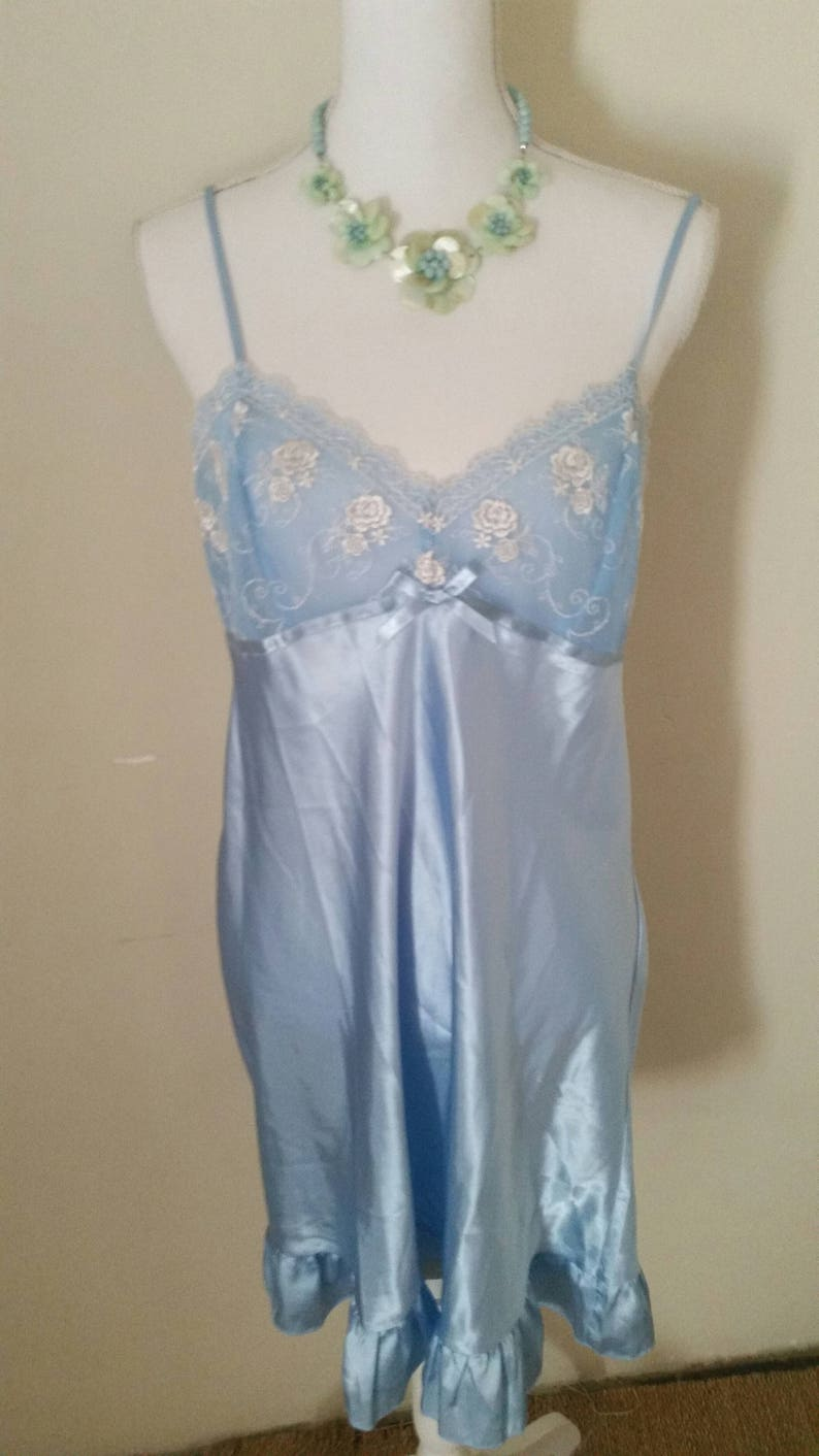 embroidered blossoms vintage 80s blue baby doll romantic clothing vintage lingerie