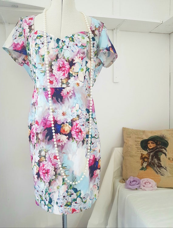 90s does 40s dress, floral cocktail dress, sweethe