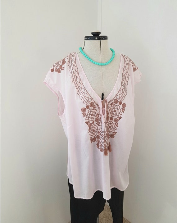 large size blouse, pale pink summer top, embroider