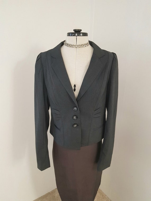 Victorian jacket, 90s does victorian, charcoal gre