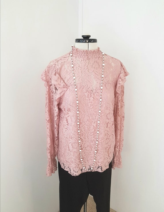 edwardian look blouse, all pink lace, 90s does vi… - image 1