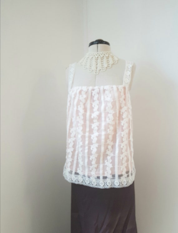 Lace camisole, flesh colour, white summer top, bea