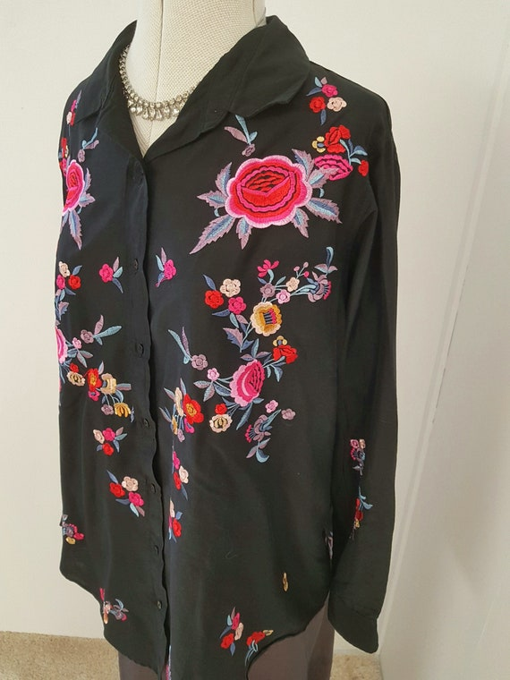 black embroidered shirt, INCREDIBLE floral embroid