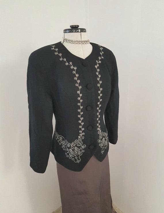 victorian look jacket, gibson girl, black wool loo