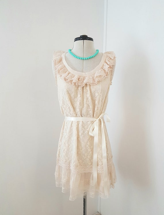 victorian style dress, beige lace, mini dress, sho