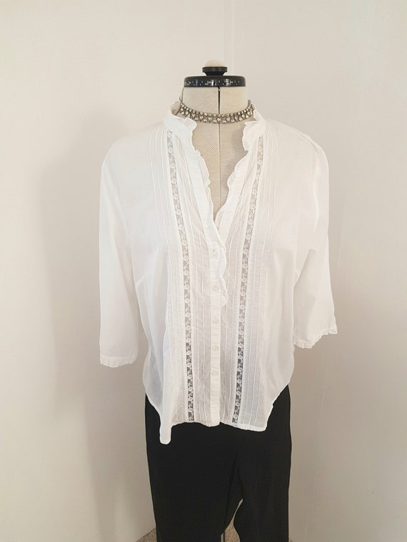 victorian blouse, 90s does edwardian, white pintuc