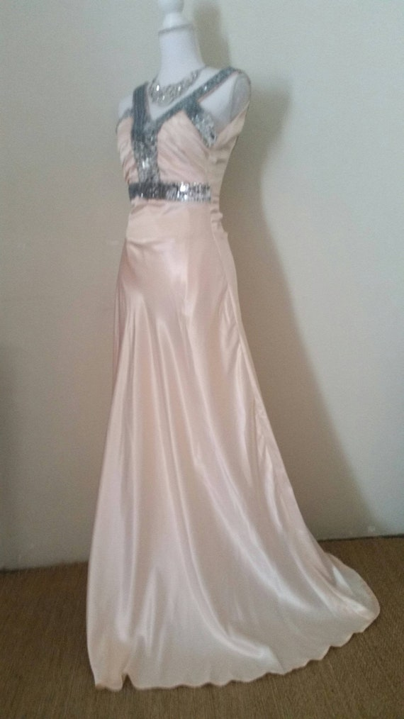 vintage wedding gown, 90s does 30s, blush peach co