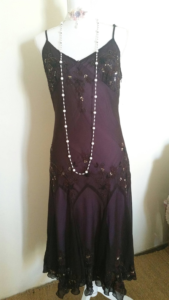 vintage beaded dress, evening dress, 90s does 20s,