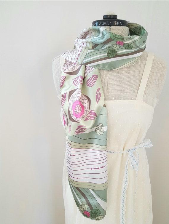 art deco print scarf, geometric roses, long pink … - image 3