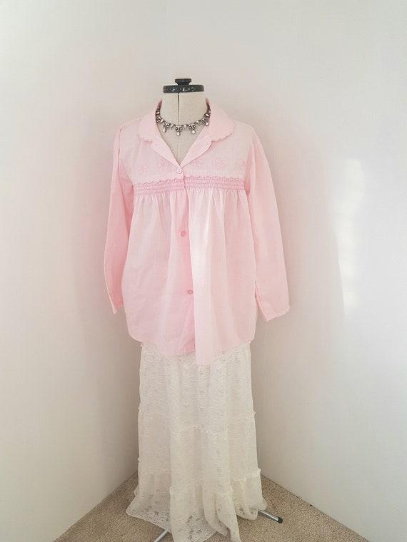 pink bed jacket, 80s vintage underwear,  pink ling