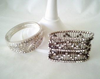 vintage rhinestone bracelets, two bracelets, stretchy bracelet, 90s bracelets, hinged bracelet, diamante bracelet