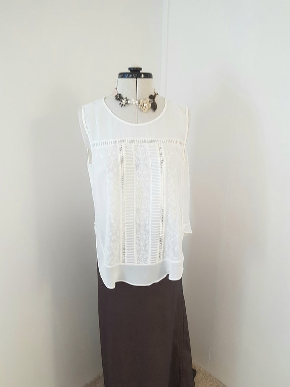 edwardian victorian look top, lace cutwork, 90s do