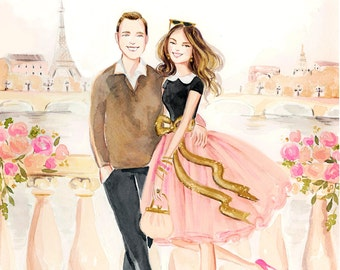 Custom Couple Portrait Illustration - Wedding, Bride Groom, Engagement, Wedding Invite Design, Sketch Watercolor Painting Drawing by Reani