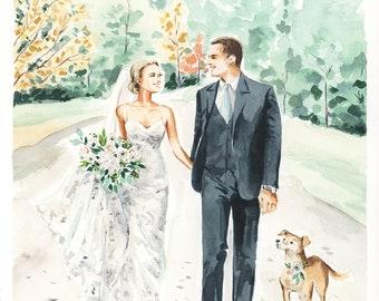 Custom Wedding Portrait - Watercolor, Save the Date, Couple Illustration, Bride and Groom Artwork, Wedding Gift, Pet, Bridesmaid by Rhian