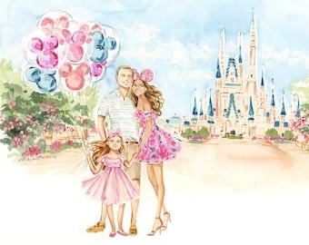 Custom Family Portrait - Watercolor Family Illustration, Christmas Gift, Couple Portrait, Child, Personalized Gift, Watercolour Artwork