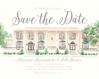 Watercolor Save the Date Card - Custom Wedding Portrait, Invite, Wedding Venue, Engagement Announcement, Couple Illustration Sketch - Reani