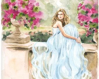 Custom Portrait -Watercolor Portrait, Fashion Sketch, Lifestyle Interior Design, Painting Artwork, Personalized Design, Bridal - by Rhian