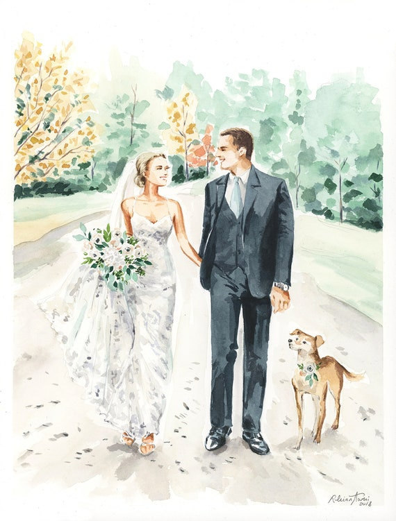 engagement illustration Custom Illustration Wedding Portrait anniversary Save The Date Illustration wedding gift