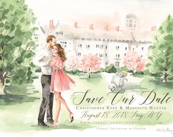 Watercolor Save the Date - Sketch, Wedding Portrait, Illustration, Bride and Groom, , Couple, Engagement Announcement by Rhian on Etsy