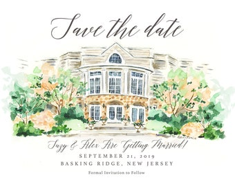 Wedding Venue Portrait - Custom Custom House Sketch, Personalized Save the Date, Watercolor Invite, Engagement Announcement, by Rhian Awni