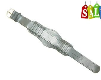 20mm Dark Gray Genuine Leather Bracelet - new handmade WATCHBAND Strap - Wrist Watches wristlet - vintage PILOT style